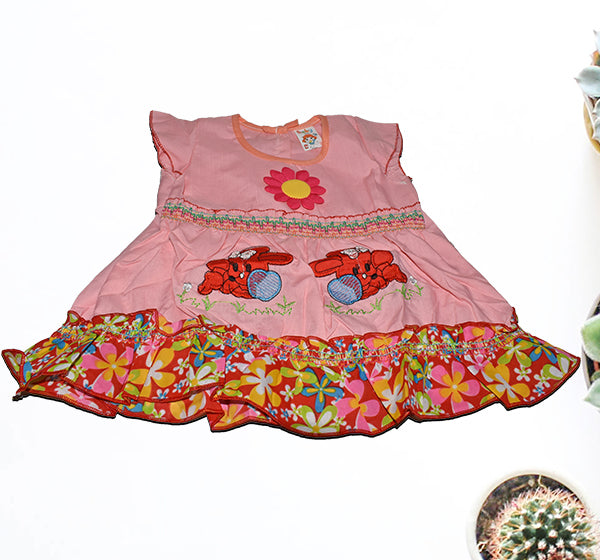 Center Flower With Rabbit Printed Frock For Baby Girl - Pink - Hiffey