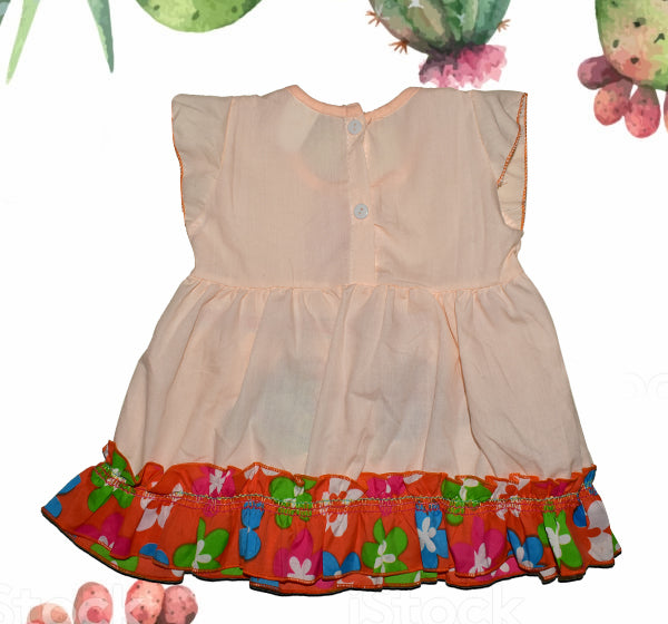 Center Flower With Rabbit Printed Frock For Baby Girl - Peach - Hiffey