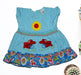 Center Flower With Rabbit Printed Frock For Baby Girl - Sky Blue - Hiffey