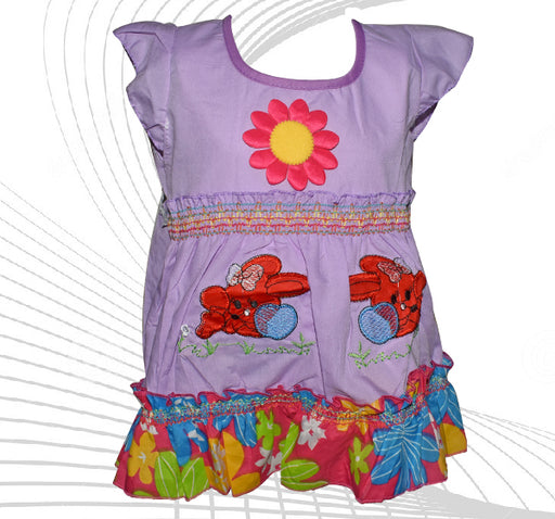 Center Flower With Rabbit Printed Frock For Baby Girl - Purple - Hiffey