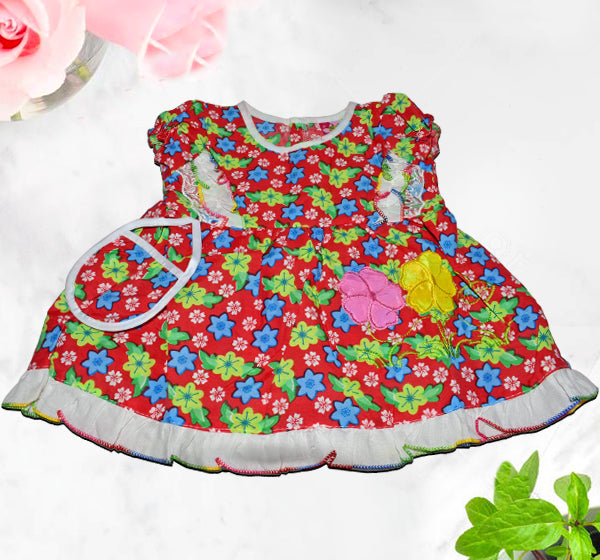 Mini Flower Printed Frock With Mini Bibs For Baby Girl - Red - Hiffey