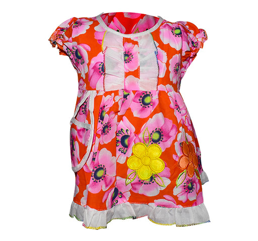 Flower Printed With Mini Bibs Frock For Girl - Multi Color - Hiffey