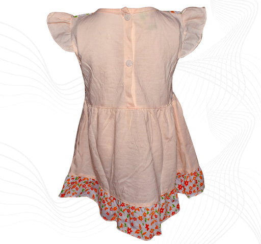 Cotton Frock For Baby Girl - Peach - Hiffey