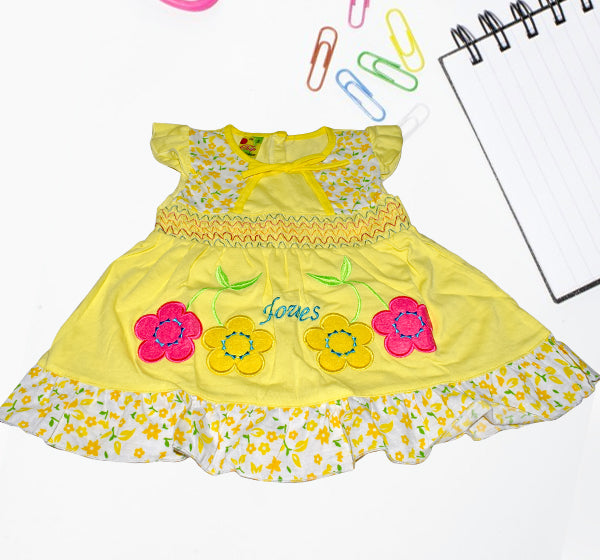 Cotton Frock For Baby Girl - Yellow - Hiffey