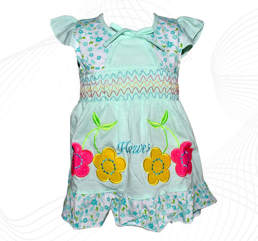 Cotton Frock For Baby Girl - Sea Green - Hiffey