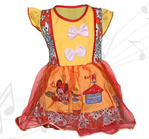Minnie Mouse Printed Frock For Baby Girl - Yellow - Hiffey