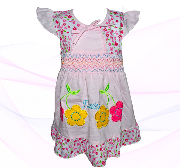 Cotton Frock For Baby Girl - Pink - Hiffey