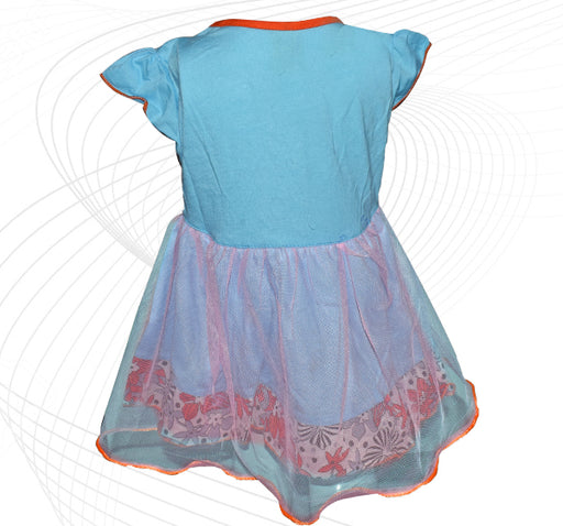Minnie Mouse Printed Frock For Baby Girl - Sky Blue - Hiffey