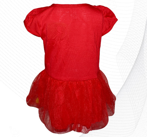 Kitty Baby Frock With Fluffy Balls - Red - Hiffey