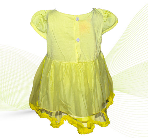 Multi Flower Net Frill Frock For Baby Girl - Yellow - Hiffey
