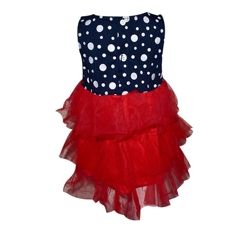 White Polka Dots With Red Frill Frock For Baby Girl - Navy Blue - Hiffey