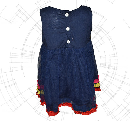 Smiley Sun Flower Frock For Baby Girl - Navy Blue - Hiffey
