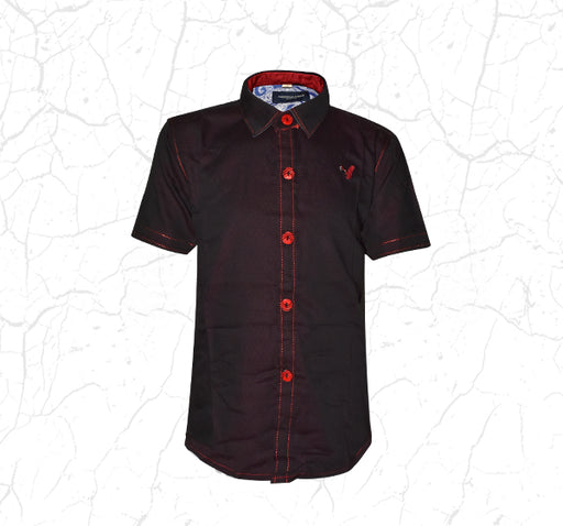 Maroon with Red Dots Casual Shirt for Boys - Hiffey