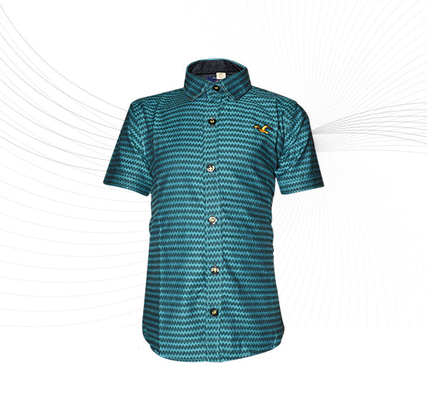 Zigzag Style Cotton Shirt For Boys - Sea Green - Hiffey