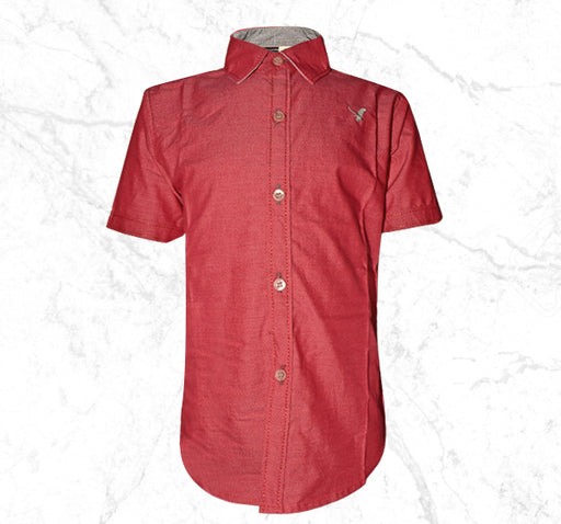 Denim Red Casual Shirt for Kids - Hiffey
