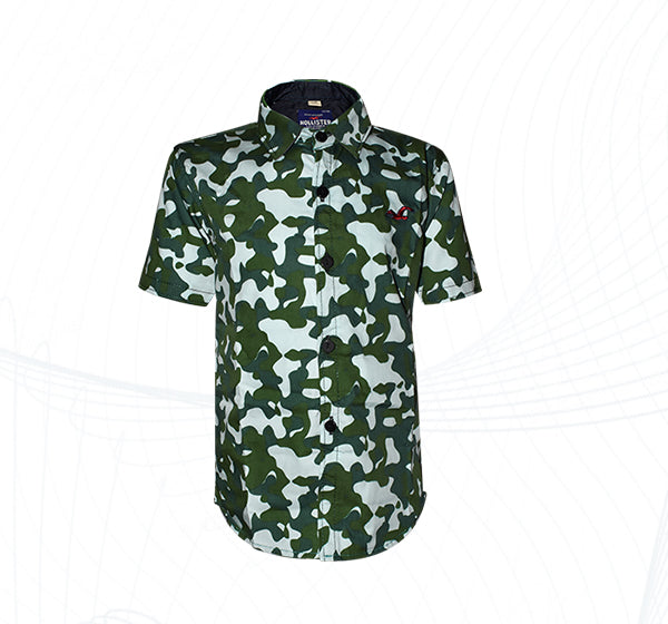 Army Pattern Cotton Shirt For Boys - Green - Hiffey