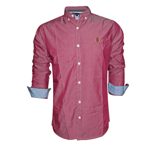 Polka Dots Printed Full Sleeves Tommy Shirt For Men - Maroon - Hiffey