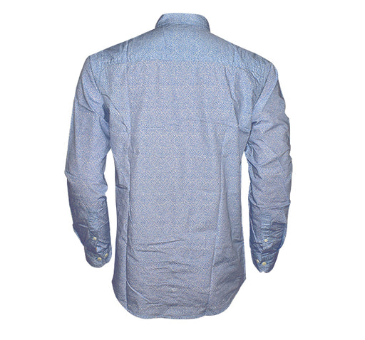 Printed Blue Full Sleeves Tommy Shirt For Men - Sky Blue - Hiffey