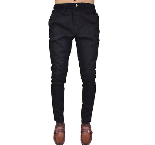 Skinny Fit Stretchable Jeans For Men - Black - Hiffey