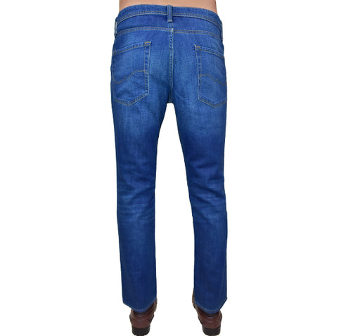 Bleach Wash Zip Fly Stretchable Jeans For Men - Blue - Hiffey