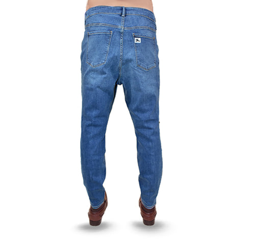 Bleach Wash Shaded Blue Stretchable Jeans For Men - Hiffey