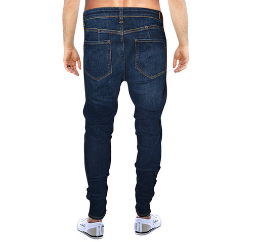 Denim Wrinkle Stretchable Jeans For Men - Blue - Hiffey