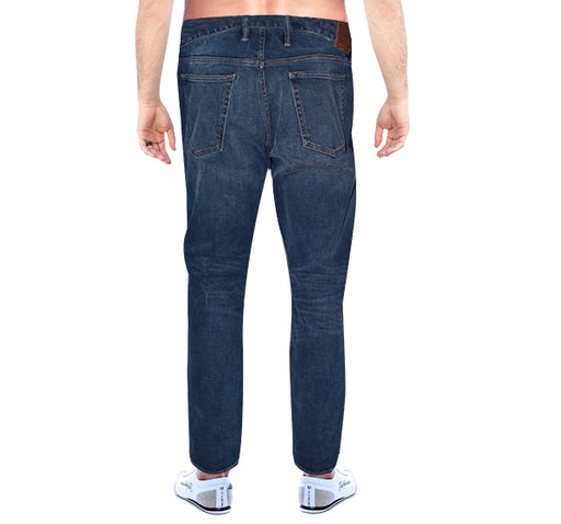 Relaxed Slim Fit Bleach Jeans For Men - Dark Blue - Hiffey