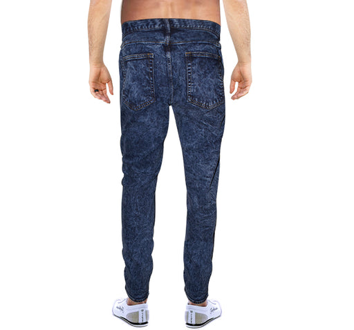 Full Bleach Shaded Jeans For Men - Blue - Hiffey