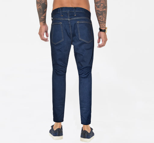 Denim Royal Blue Skinny Fit Jeans With Golden Stitching For Men - Hiffey