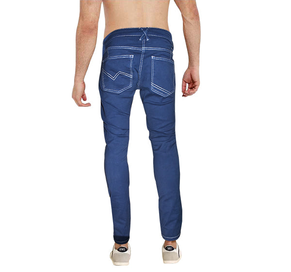 Denim Royal Blue Skinny Fit Jeans With White Stitching For Men - Hiffey