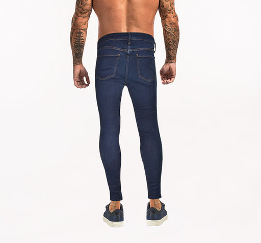 Denim Navy Blue Skinny Fit Jeans For Men - Hiffey