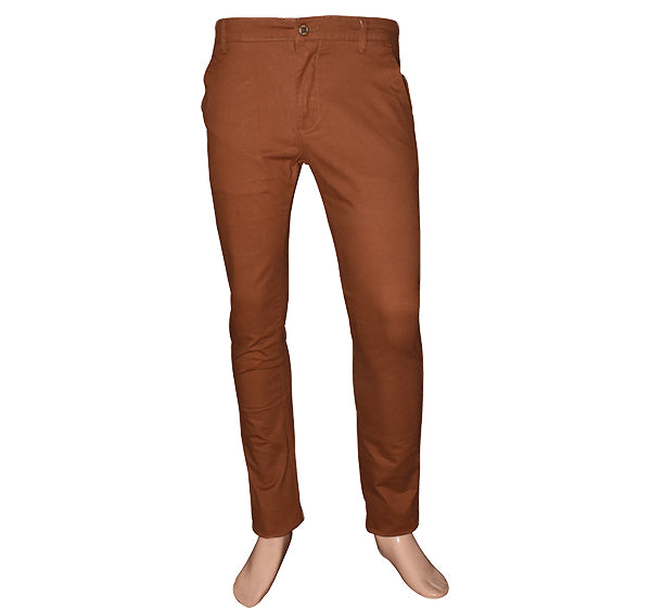 Slim Fit Cotton Chino Pant For Men - Brown - Hiffey