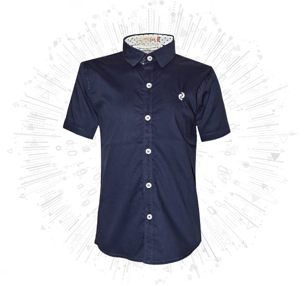 Plain Cotton Shirt For Boys - Navy Blue - Hiffey