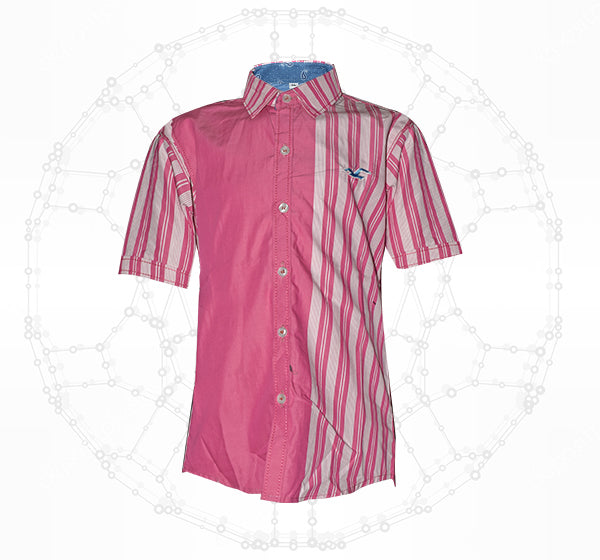 Half Plain Pink With White Lining Cotton Shirt For Boys - Hiffey