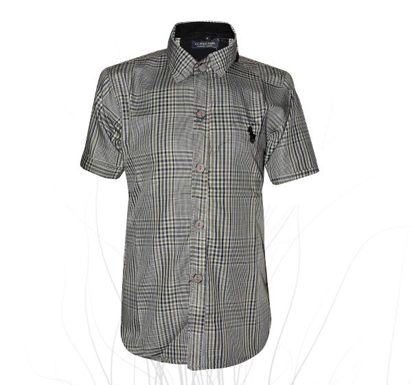 Black Green Check Printed Cotton Shirt For Boys - Gray - Hiffey