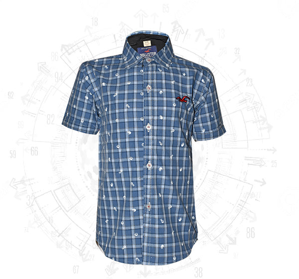 Light Blue Check Printed Cotton Shirt For Boys - Hiffey