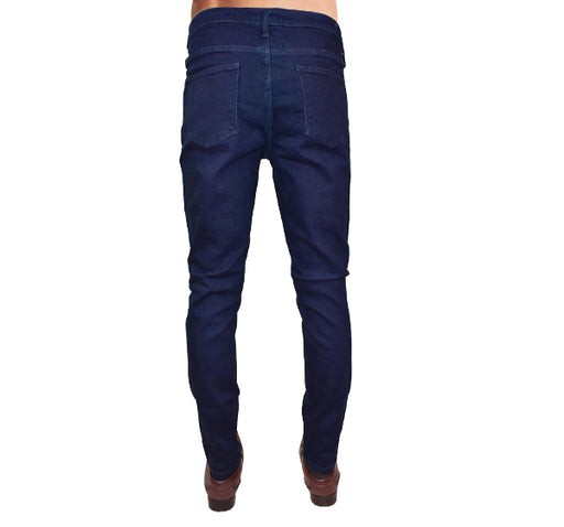 Navy Blue Slim Fit Stretchable Jeans For Men - Hiffey
