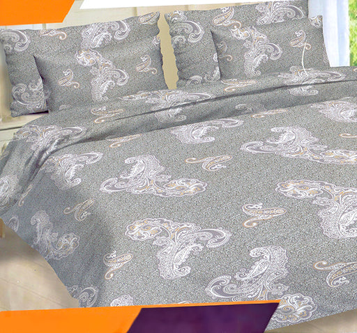 King Size White & Grey Printed 3 Pcs Bed Sheet - Hiffey