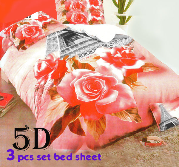 Stylish And Comfortable Rose Printed 3D Bed Sheet With 2 Pillow Covers - Dark Pink - Hiffey