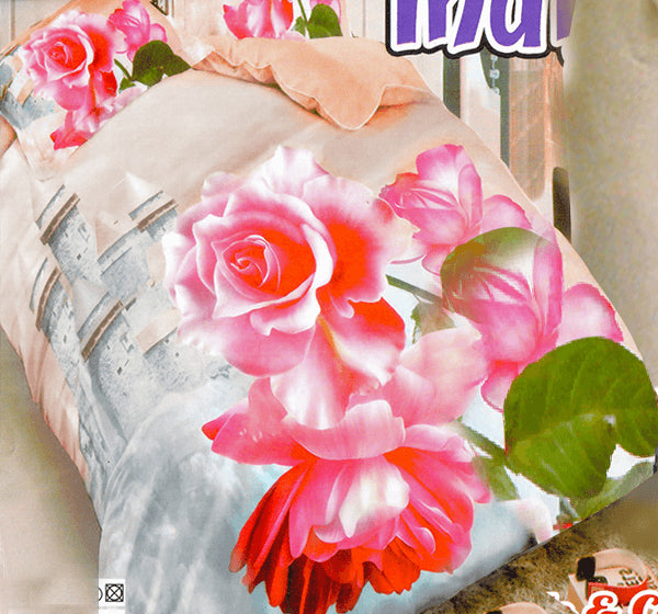 Beautiful Floral 3D Bed Sheet With Two Pillow Covers - Hiffey