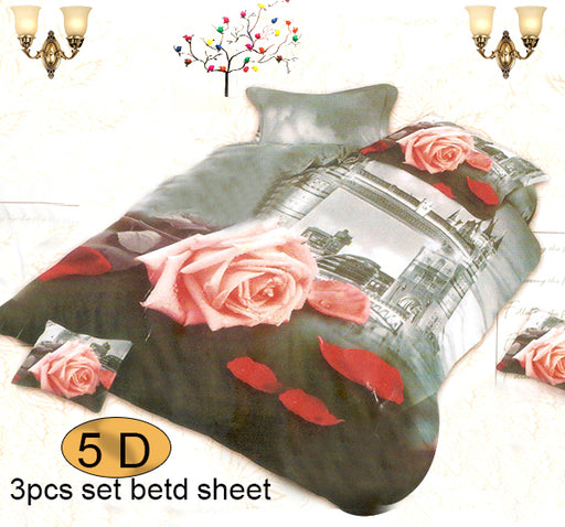 Pink Rose and The City Printed 3D Bed Sheet With Two Pillow Covers - Hiffey