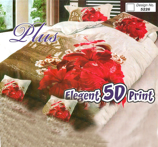 Elegant Quality Off-White and Brown Red Flowers 3D Bed Sheet With Two Pillow Covers - Hiffey