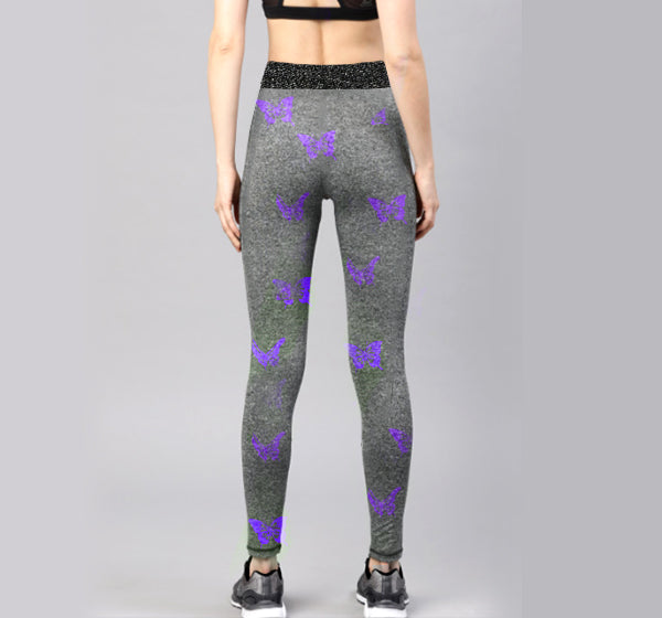 Purple Butterfly Sports Legging Yoga Pants for Her - Hiffey
