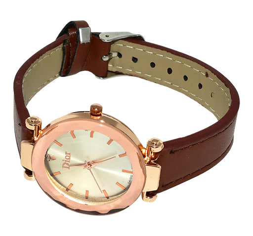 Dior Crystal Glass Analogue Wrist Watch For Women - Brown - Hiffey