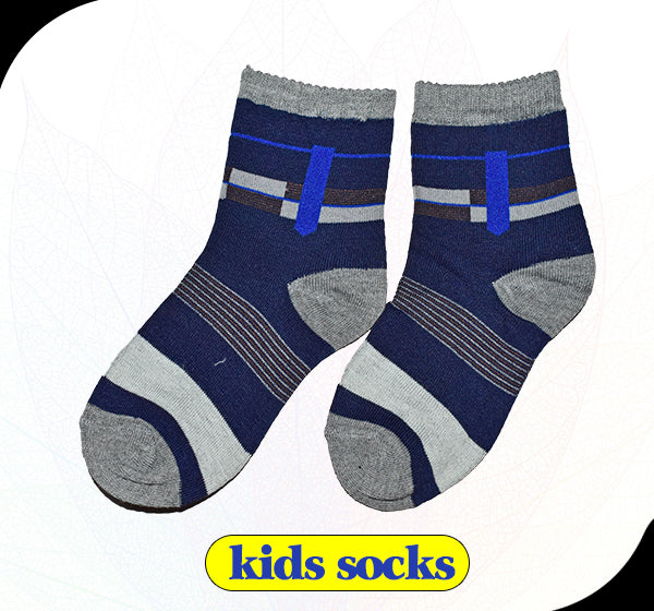 Navy Blue & Grey Kids Socks - Hiffey