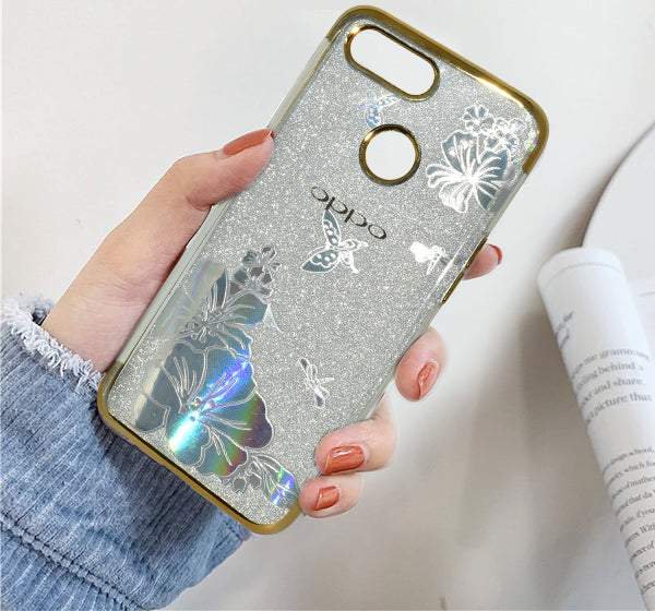 Oppo F9 Flower Textured Shiny Bling Mobile Back Cover - Golden
