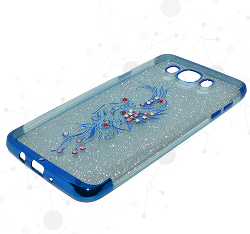 Samsung Galaxy Glitter Multi Beads Flower Textured Mobile Back Covers - Blue - Hiffey