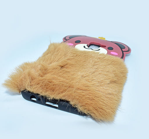 Fluffy Hairy Pizza Hat Bear Face Mobile Back Covers For Samsung Galaxy - Brown - Hiffey