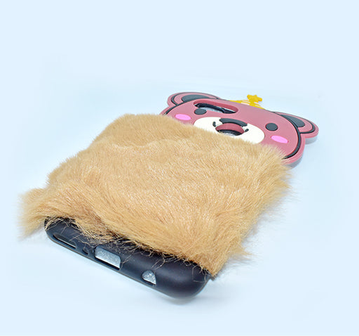 Fluffy Hairy Pizza Hat Bear Face Mobile Back Covers For Huawei Y9 Prime - Brown - Hiffey
