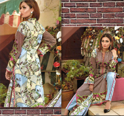 3 Piece Embroidery Unstitched Suit - Multicolor - Hiffey